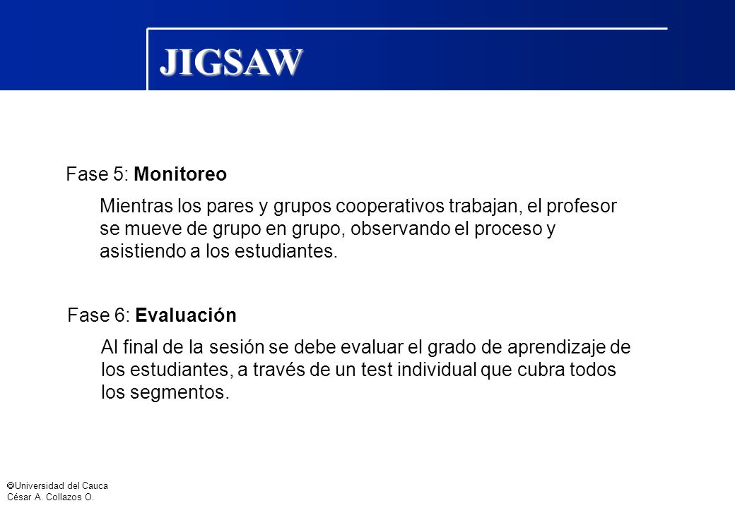 JIGSAW Fase 5: Monitoreo
