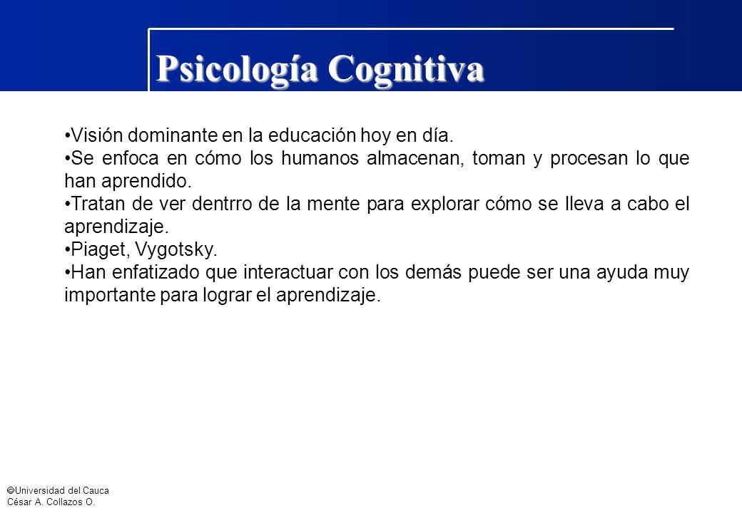 Psicología Cognitiva Visión dominante en la educación hoy en día.