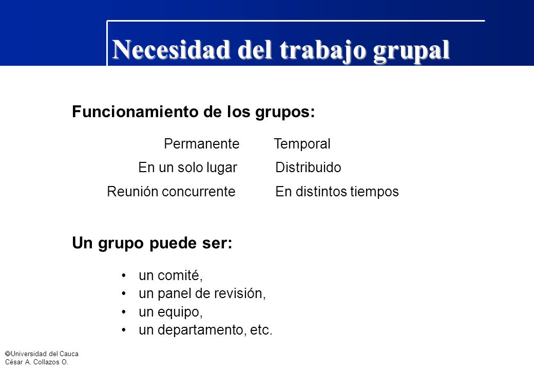 Necesidad del trabajo grupal