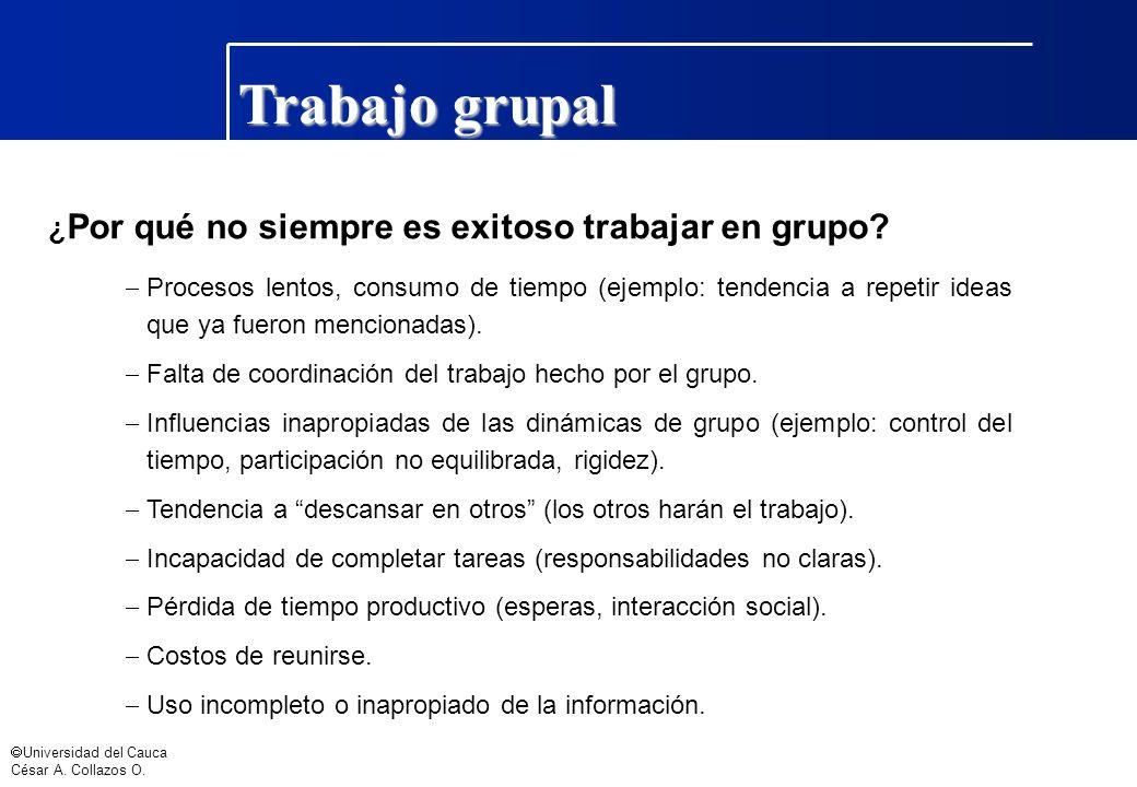 Trabajo grupal ¿Por qué no siempre es exitoso trabajar en grupo