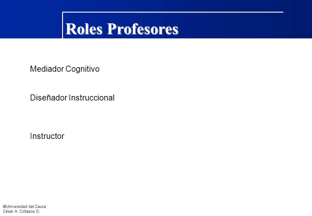 Roles Profesores Mediador Cognitivo Diseñador Instruccional Instructor