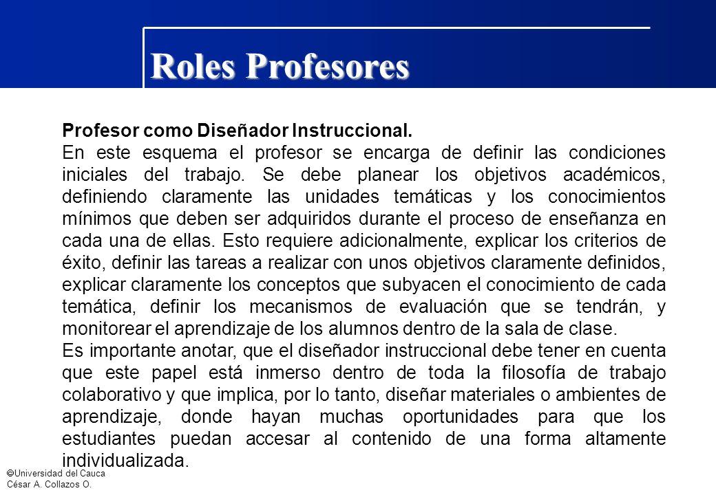Roles Profesores Profesor como Diseñador Instruccional.