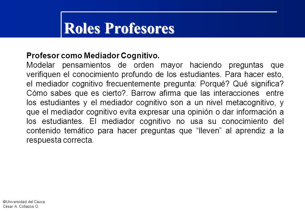 Roles Profesores Profesor como Mediador Cognitivo.