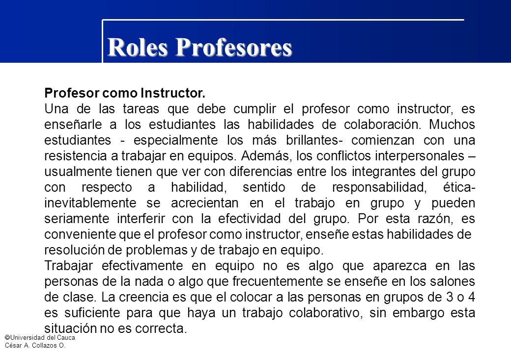 Roles Profesores Profesor como Instructor.