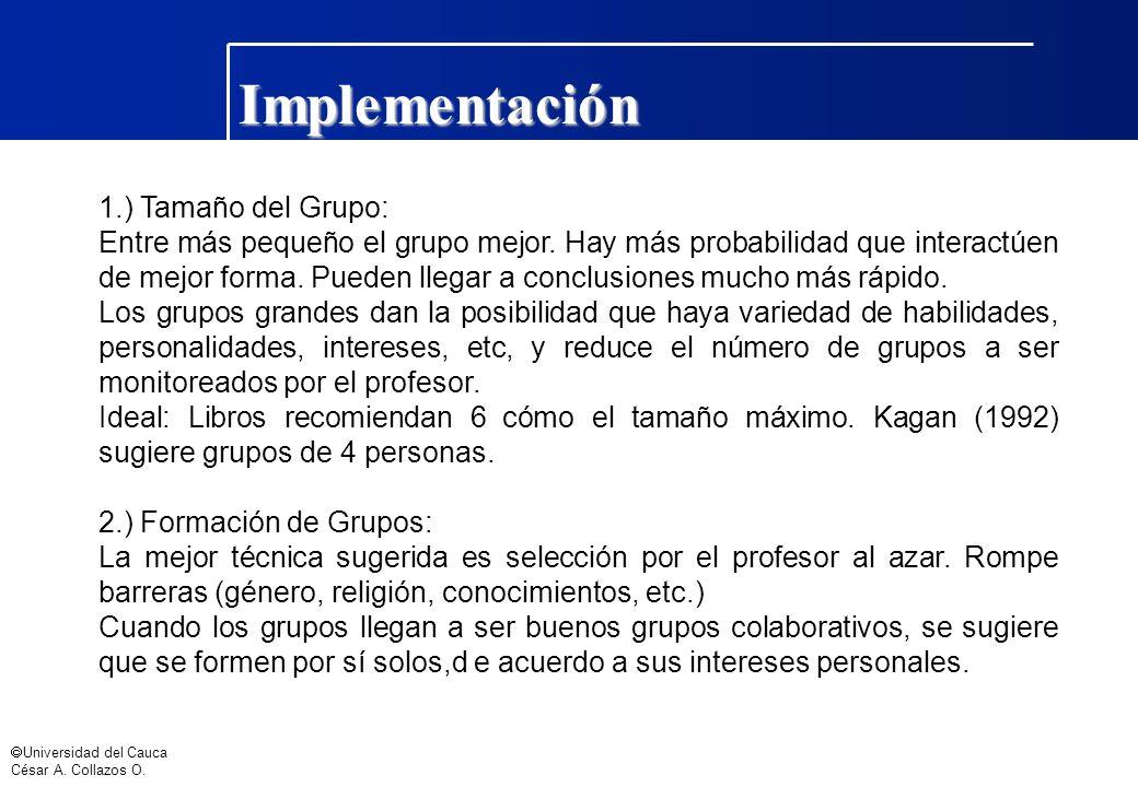 Implementación 1.) Tamaño del Grupo: