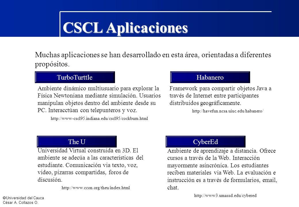 CSCL Aplicaciones Muchas aplicaciones se han desarrollado en esta área, orientadas a diferentes propósitos.