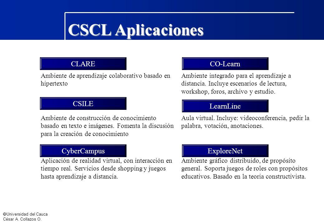 CSCL Aplicaciones CLARE CO-Learn CSILE LearnLine CyberCampus