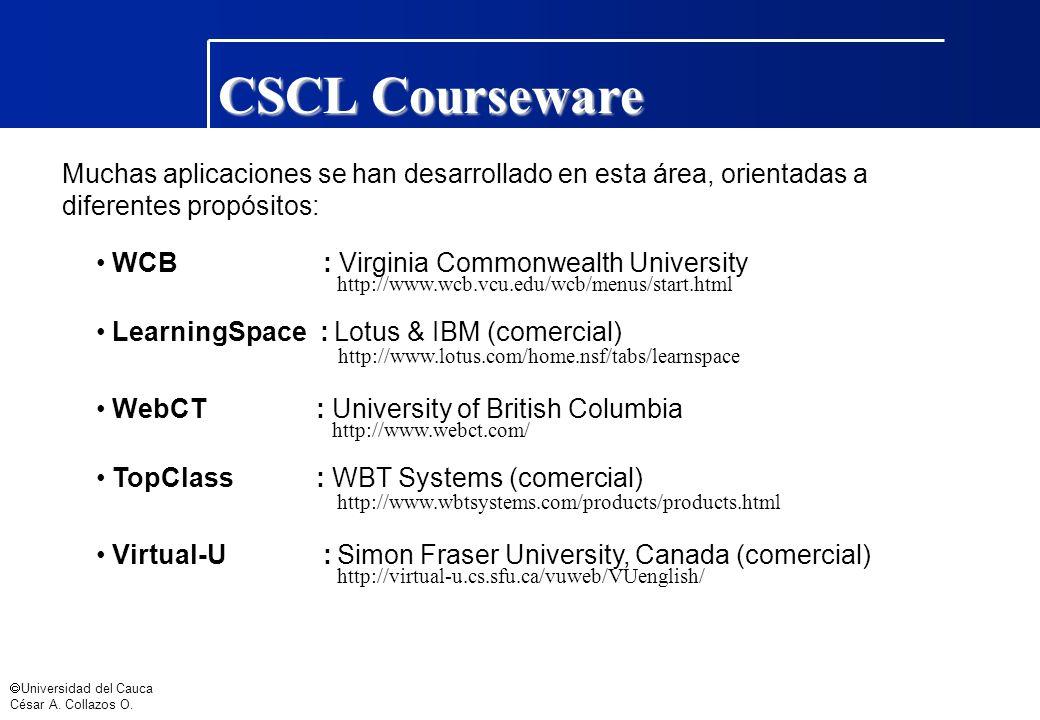 CSCL Courseware Muchas aplicaciones se han desarrollado en esta área, orientadas a diferentes propósitos: