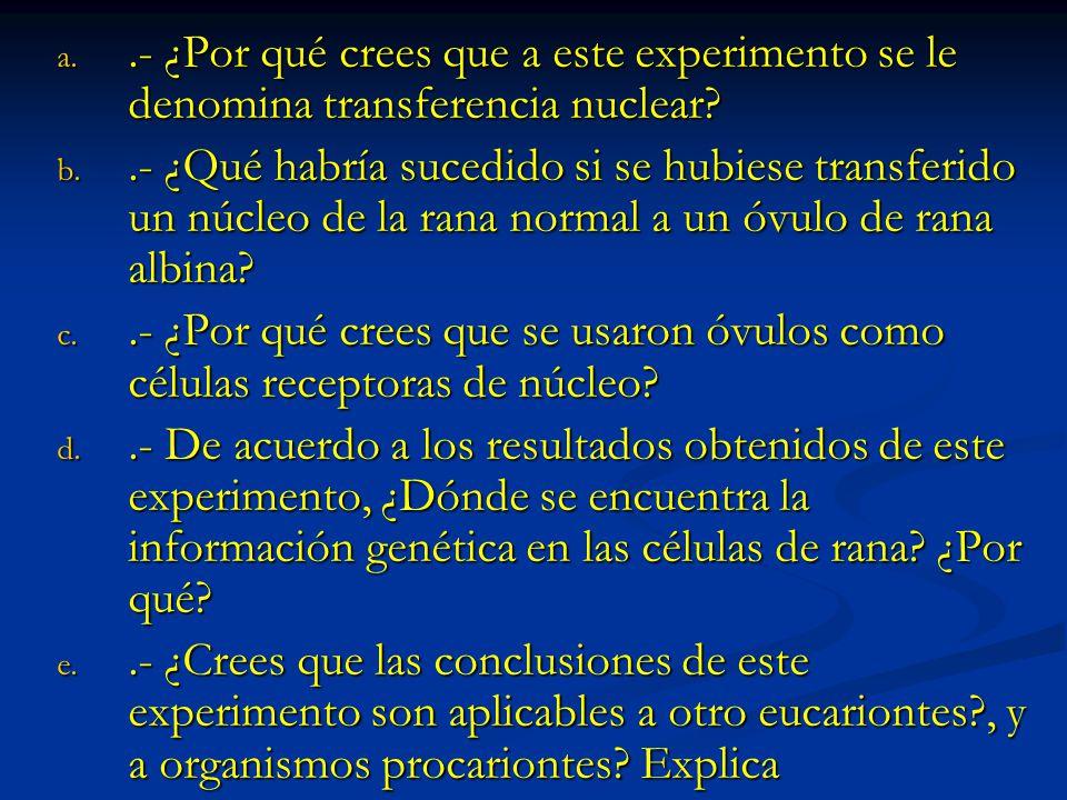 .- ¿Por qué crees que a este experimento se le denomina transferencia nuclear