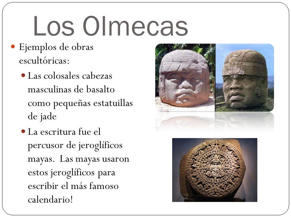 Los Olmecas Ejemplos de obras escultóricas: