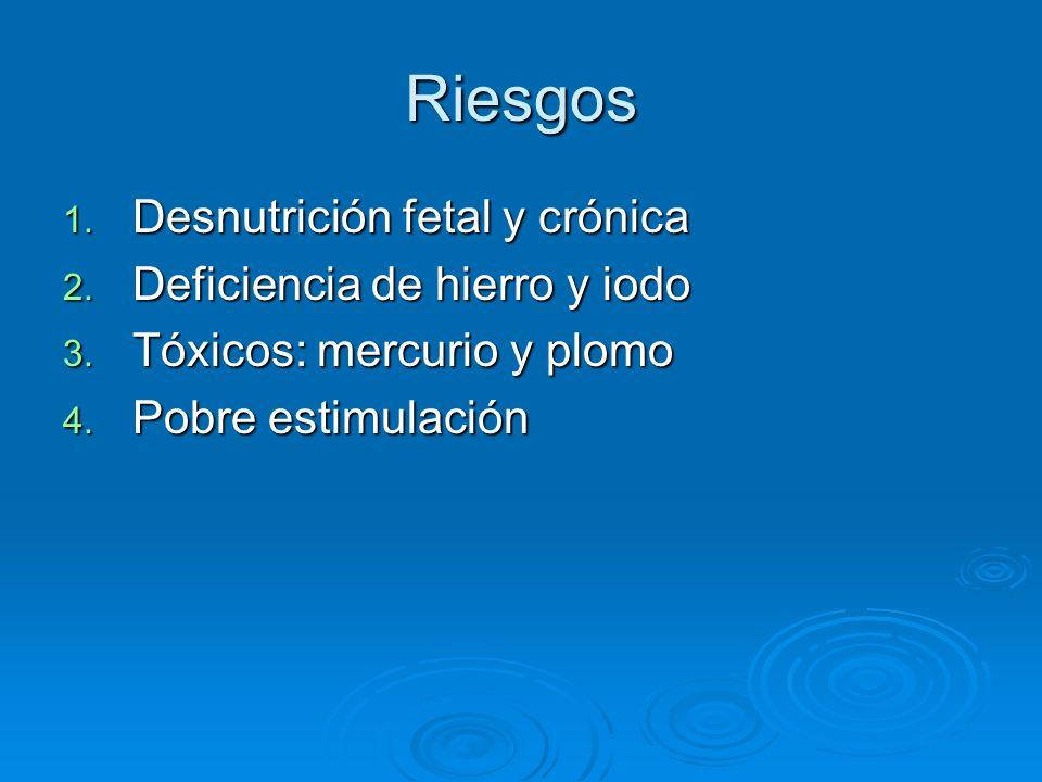 Riesgos Desnutrición fetal y crónica Deficiencia de hierro y iodo