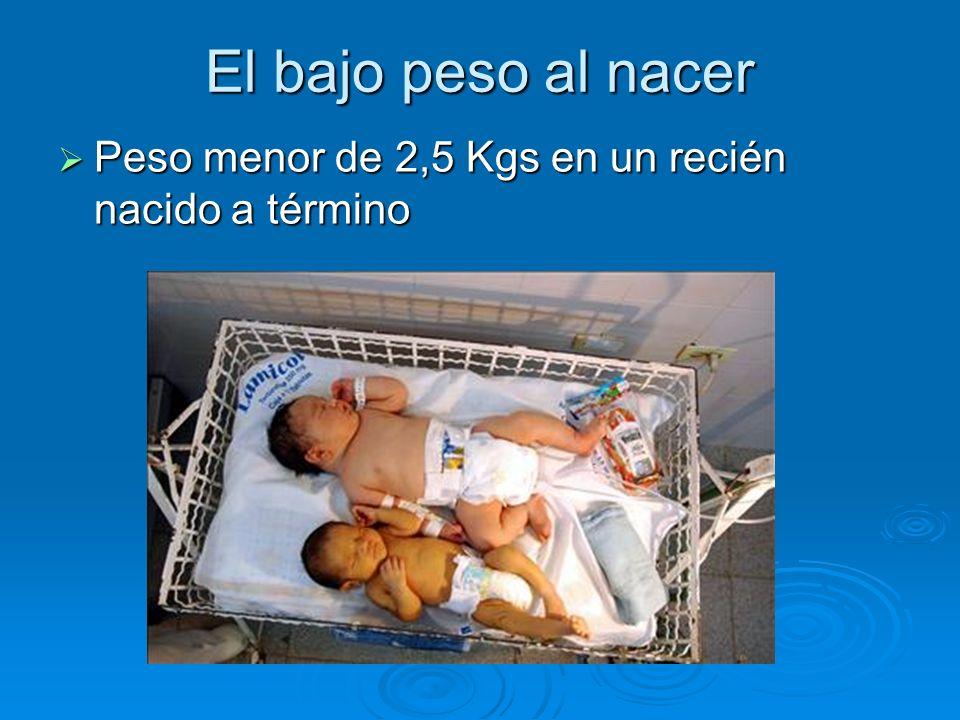 El bajo peso al nacer Peso menor de 2,5 Kgs en un recién nacido a término