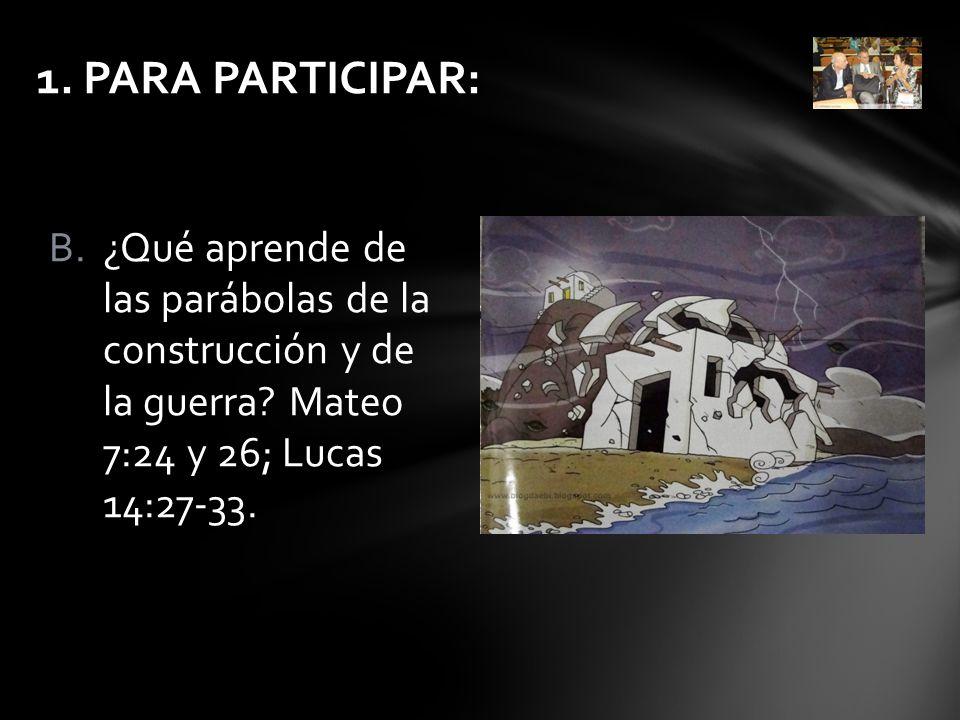 1. PARA PARTICIPAR: ¿Qué aprende de las parábolas de la construcción y de la guerra.