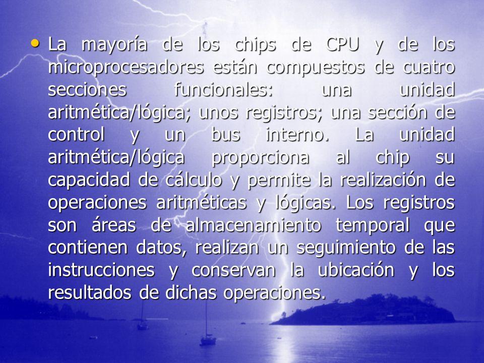La mayoría de los chips de CPU y de los microprocesadores están compuestos de cuatro secciones funcionales: una unidad aritmética/lógica; unos registros; una sección de control y un bus interno.