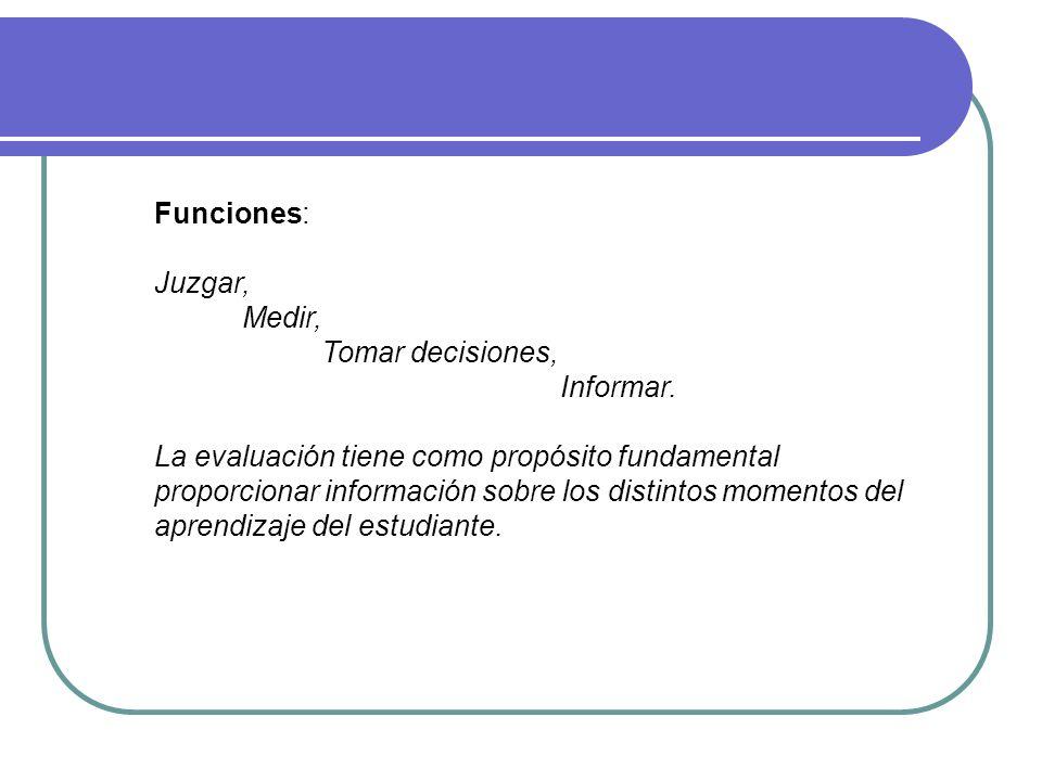 Funciones: Juzgar, Medir, Tomar decisiones, Informar.