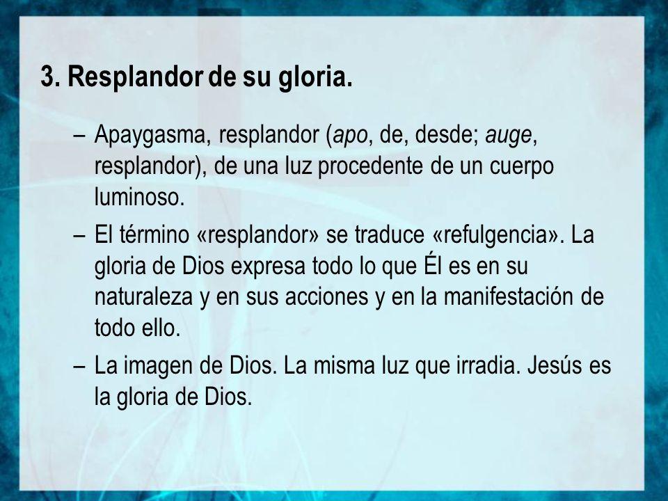 3. Resplandor de su gloria.