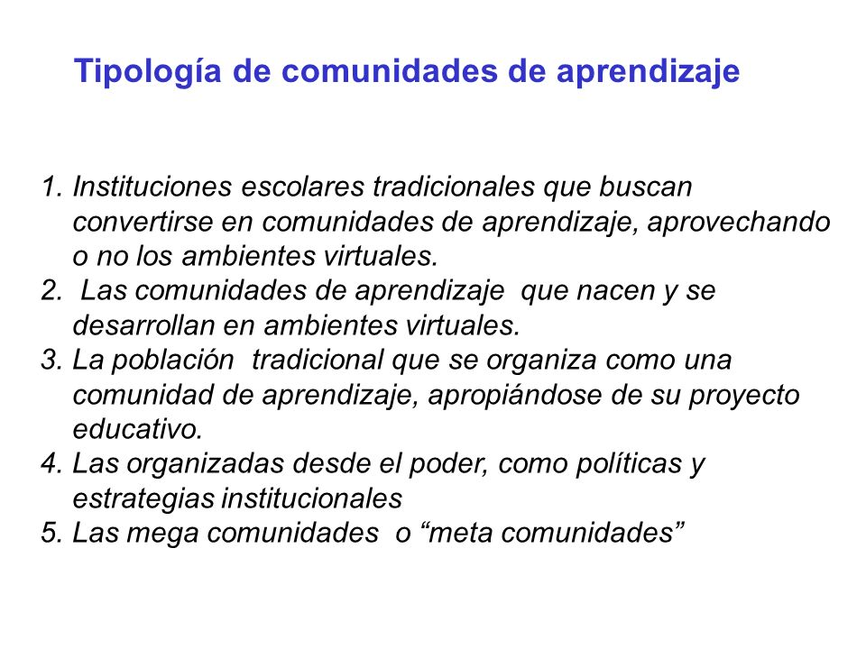 Tipología de comunidades de aprendizaje