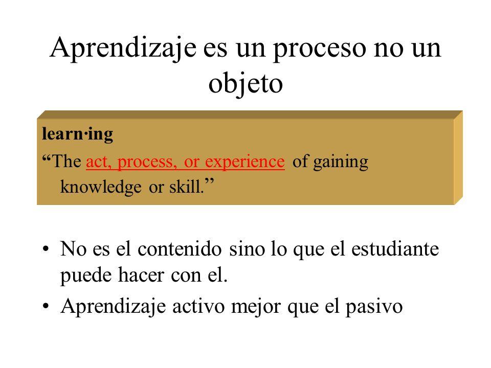 Aprendizaje es un proceso no un objeto