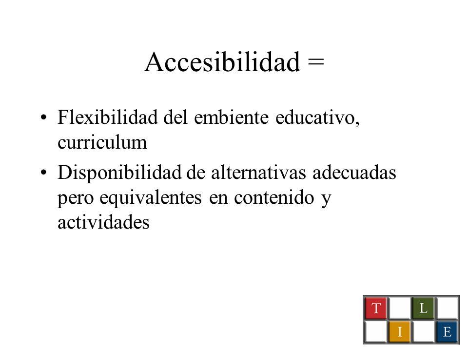 Accesibilidad = Flexibilidad del embiente educativo, curriculum