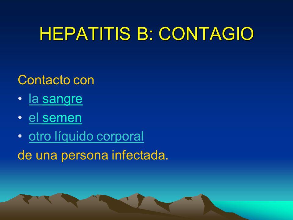 HEPATITIS B: CONTAGIO Contacto con la sangre el semen