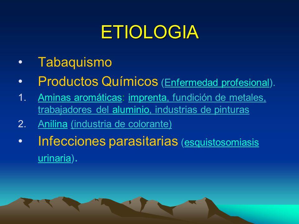 ETIOLOGIA Tabaquismo Productos Químicos (Enfermedad profesional).