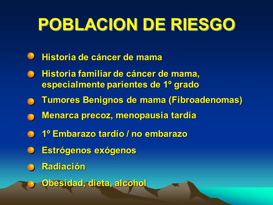 POBLACION DE RIESGO Historia de cáncer de mama