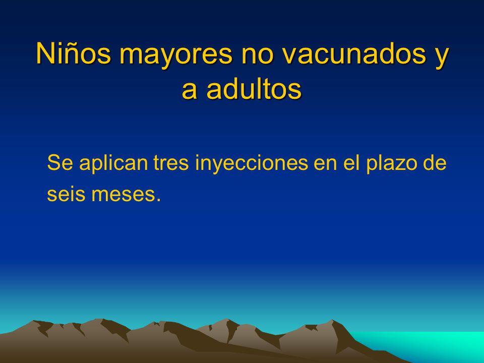 Niños mayores no vacunados y a adultos