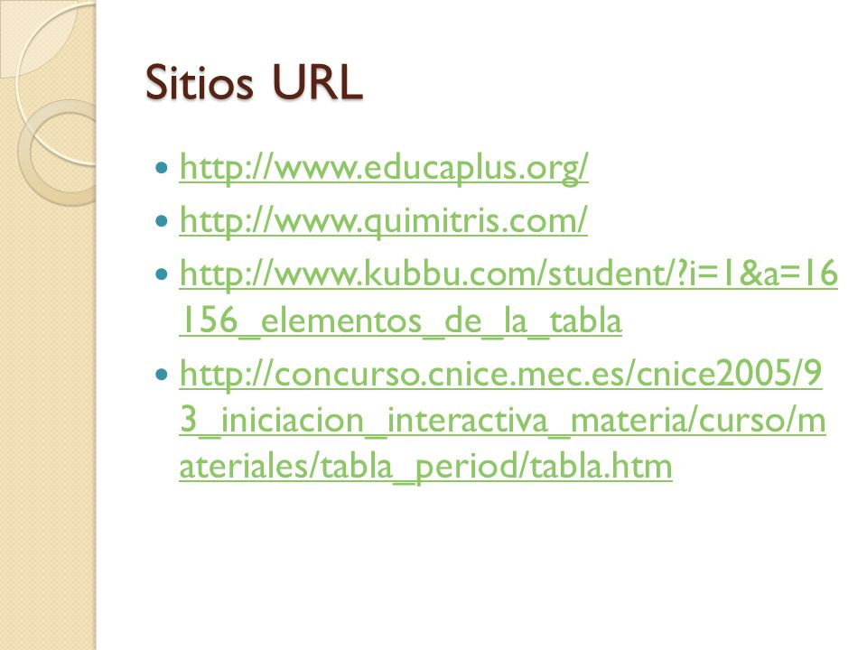 Sitios URL http://www.educaplus.org/ http://www.quimitris.com/