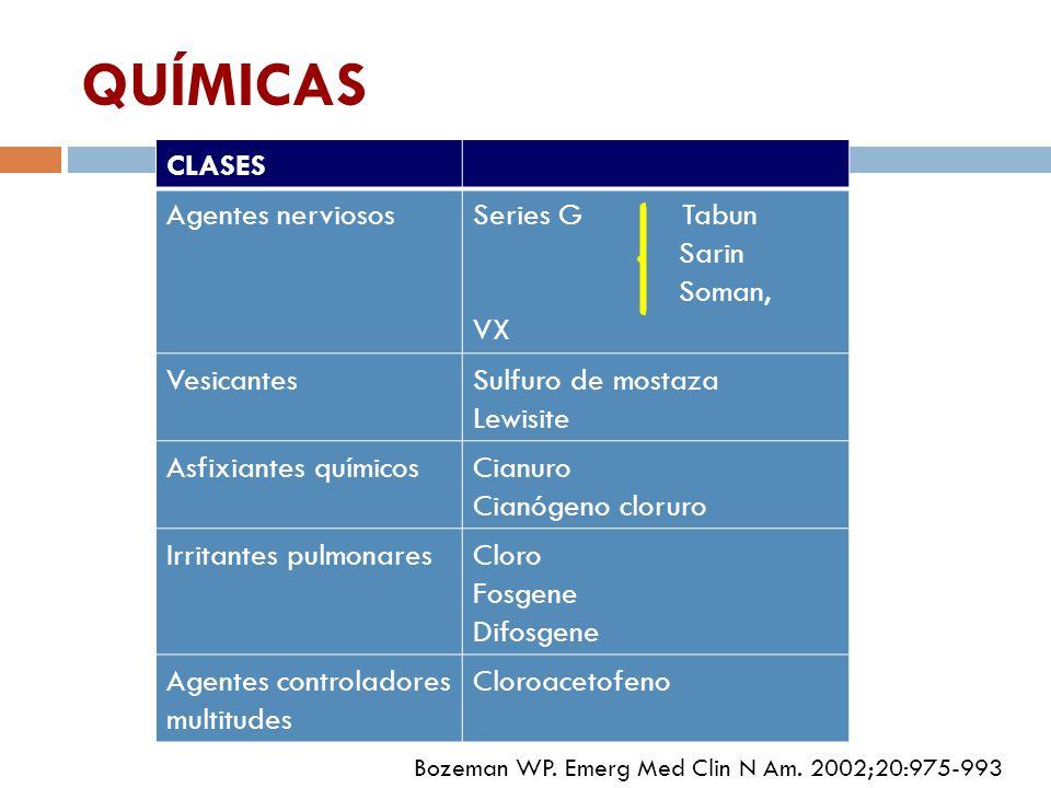 QUÍMICAS CLASES Agentes nerviosos Series G Tabun Sarin Soman, VX