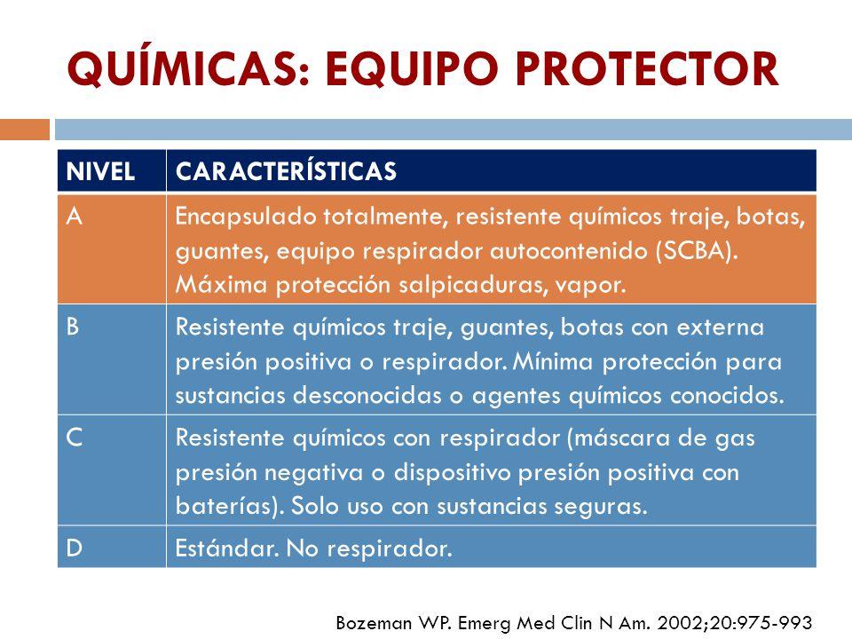QUÍMICAS: EQUIPO PROTECTOR