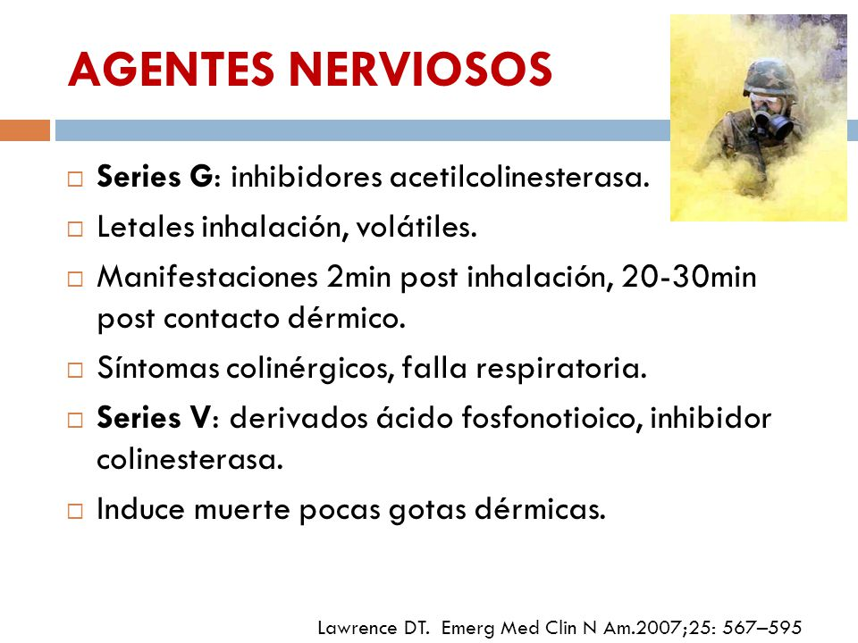 AGENTES NERVIOSOS Series G: inhibidores acetilcolinesterasa.