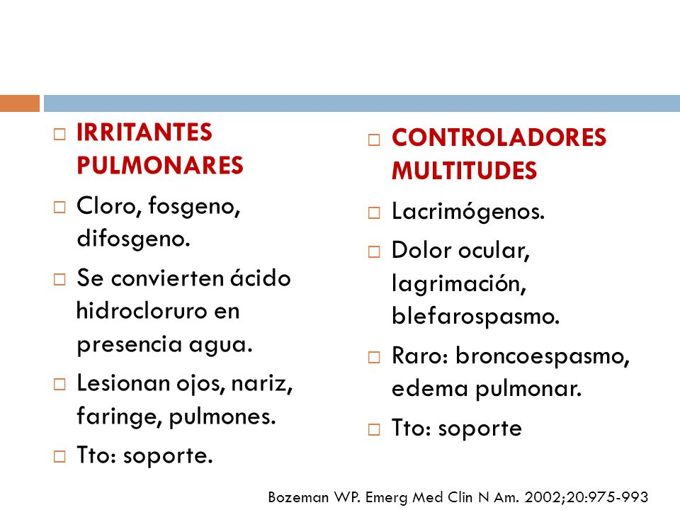 IRRITANTES PULMONARES Cloro, fosgeno, difosgeno.