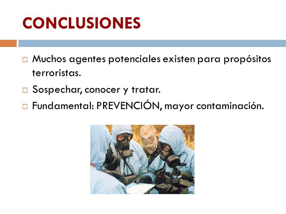 CONCLUSIONES Muchos agentes potenciales existen para propósitos terroristas. Sospechar, conocer y tratar.