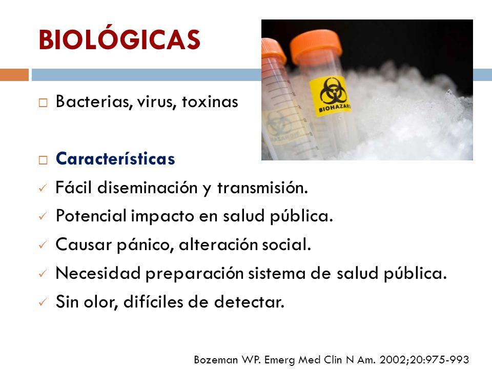 BIOLÓGICAS Bacterias, virus, toxinas Características