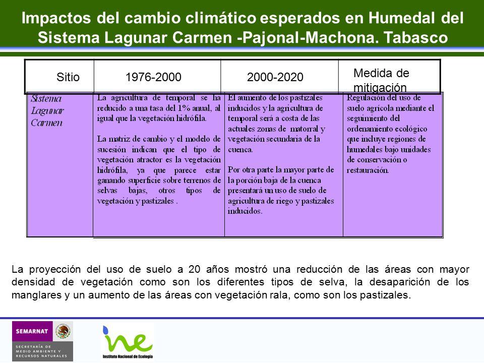 Impactos del cambio climático esperados en Humedal del Sistema Lagunar Carmen -Pajonal-Machona. Tabasco