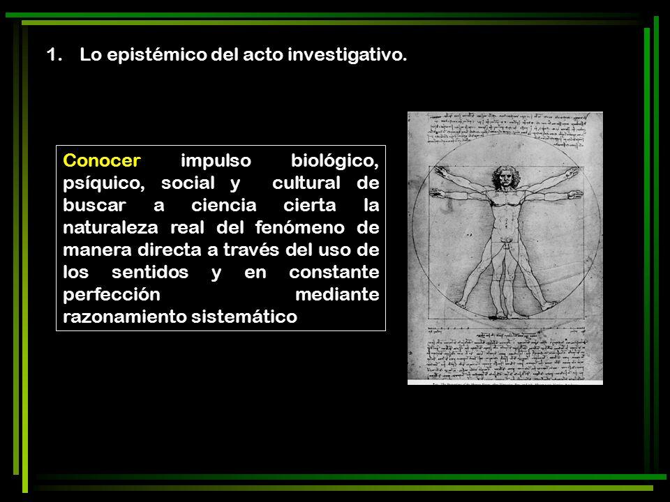 Lo epistémico del acto investigativo.