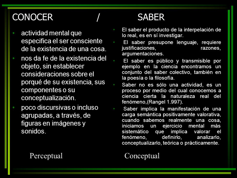 CONOCER / SABER Perceptual Conceptual