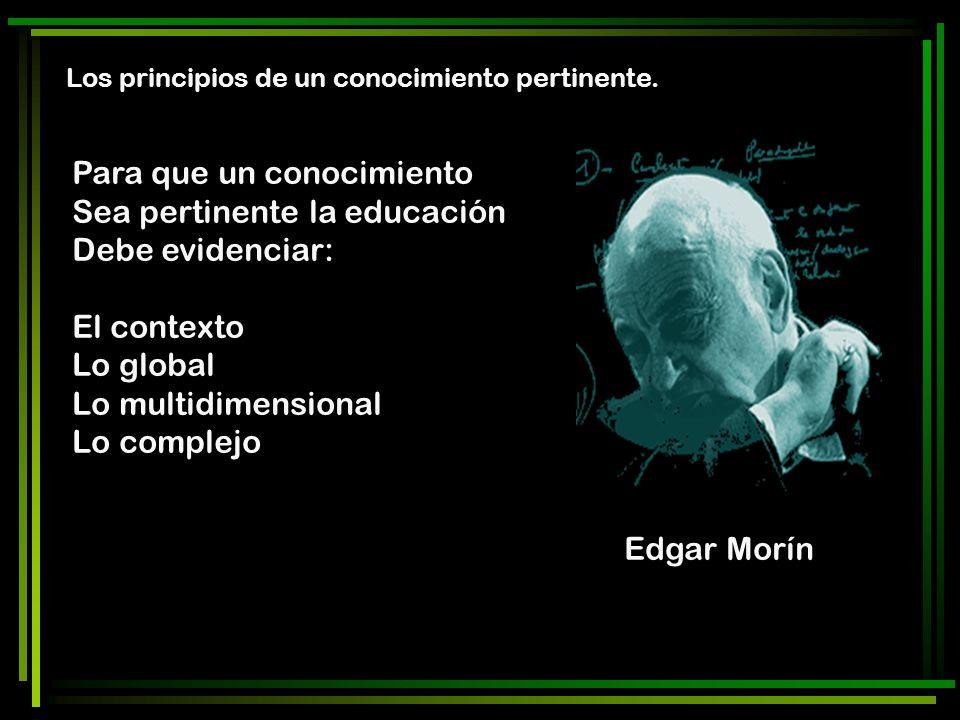 Para que un conocimiento Sea pertinente la educación Debe evidenciar: