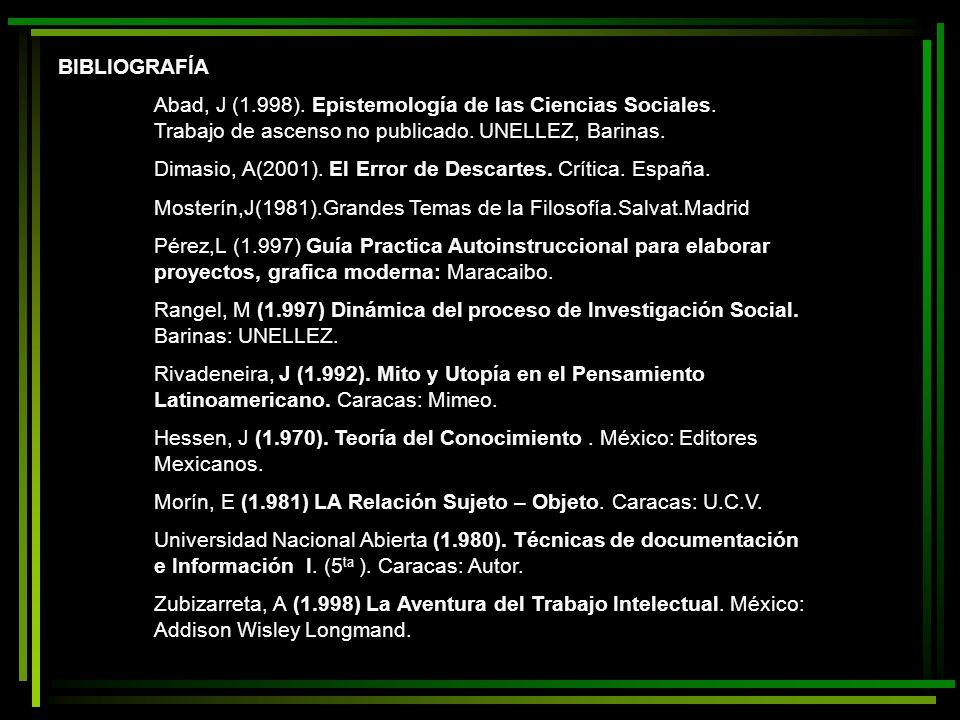 BIBLIOGRAFÍA Abad, J (1.998). Epistemología de las Ciencias Sociales. Trabajo de ascenso no publicado. UNELLEZ, Barinas.