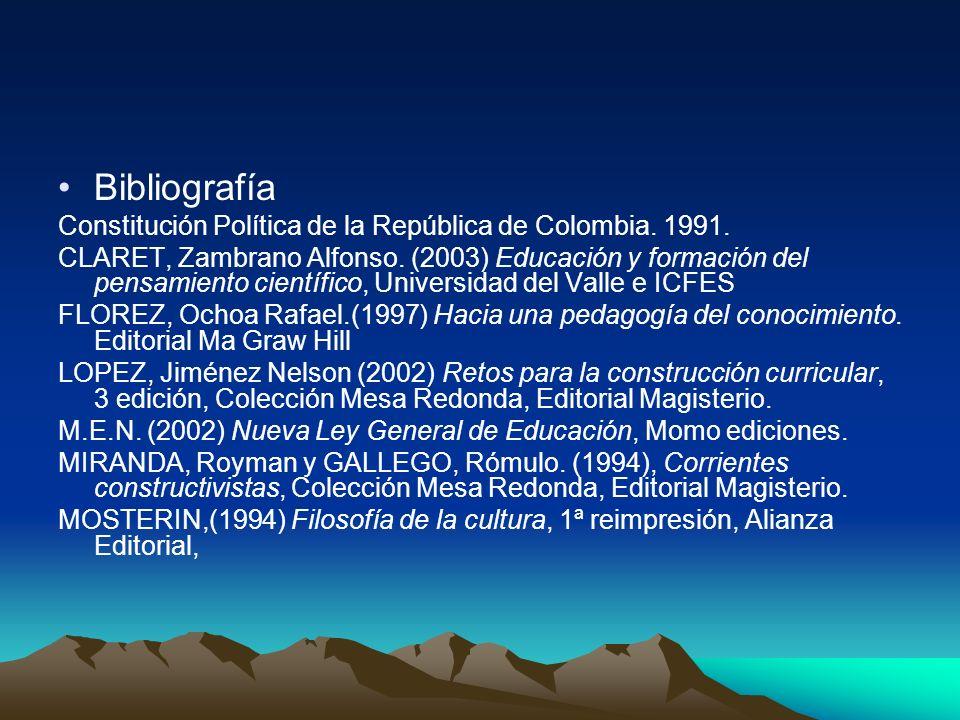 Bibliografía Constitución Política de la República de Colombia. 1991.