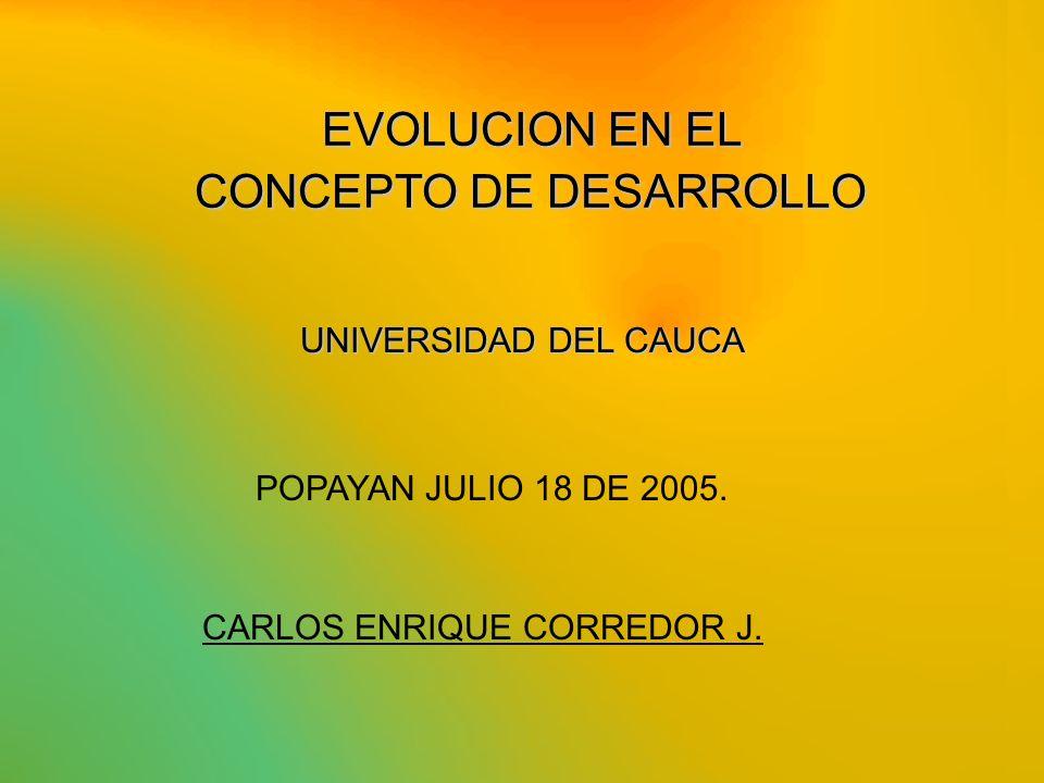 EVOLUCION EN EL CONCEPTO DE DESARROLLO