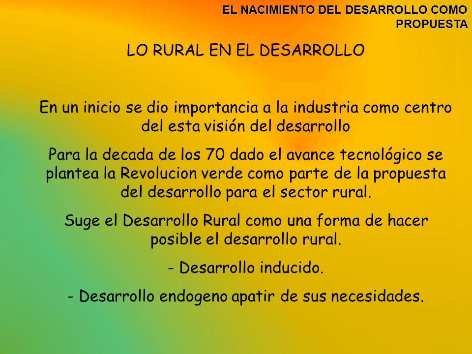 LO RURAL EN EL DESARROLLO