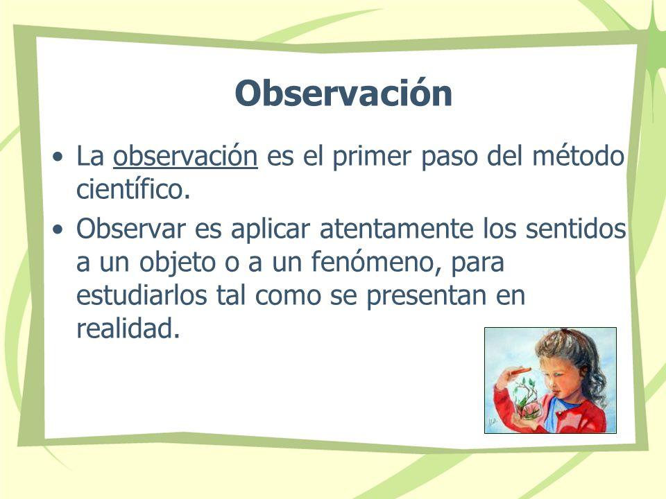 Observación La observación es el primer paso del método científico.
