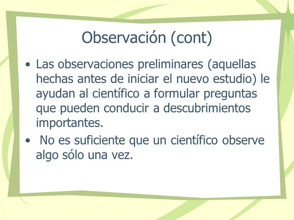 Observación (cont)