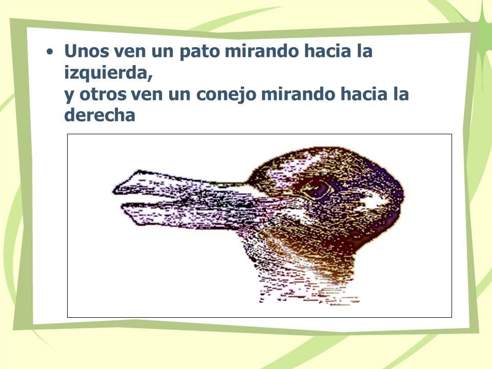 Unos ven un pato mirando hacia la izquierda, y otros ven un conejo mirando hacia la derecha