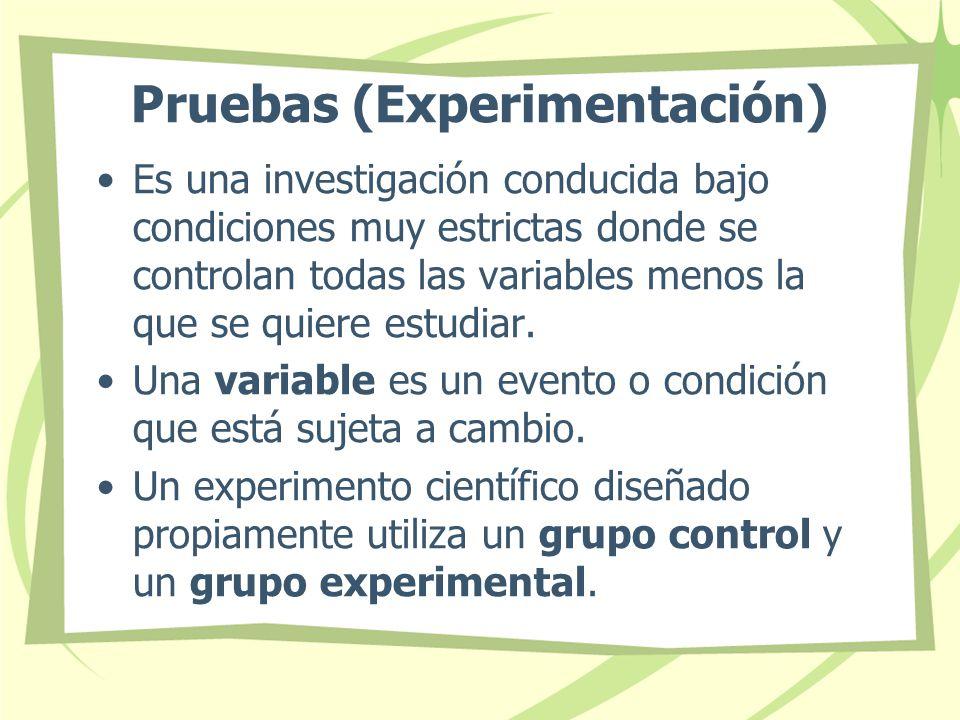 Pruebas (Experimentación)