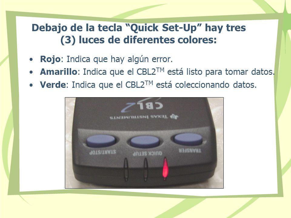 Debajo de la tecla Quick Set-Up hay tres (3) luces de diferentes colores: