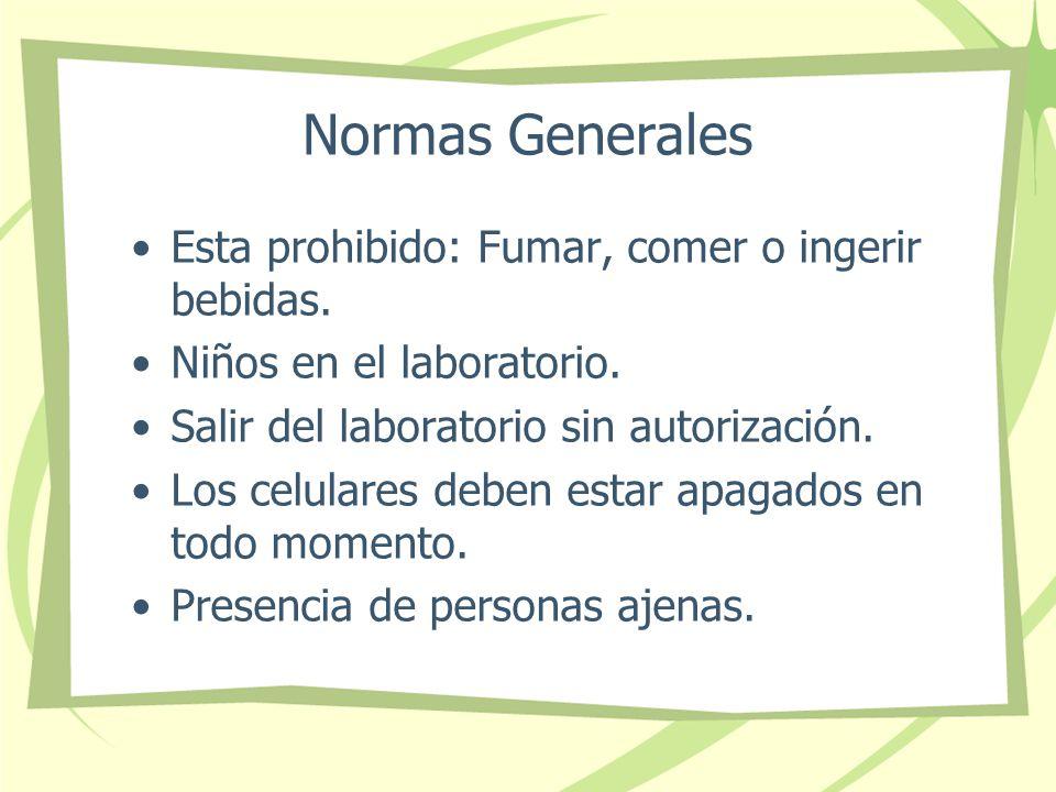 Normas Generales Esta prohibido: Fumar, comer o ingerir bebidas.