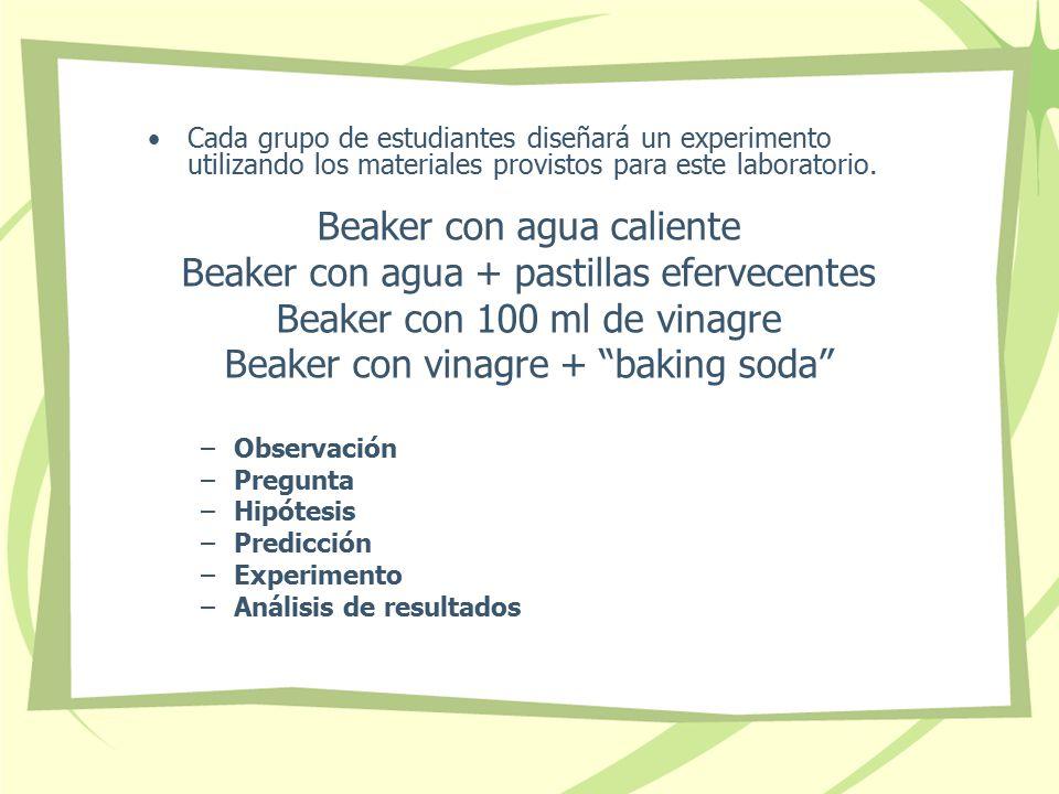 Beaker con agua caliente Beaker con agua + pastillas efervecentes
