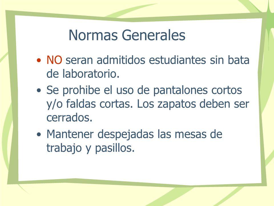 Normas Generales NO seran admitidos estudiantes sin bata de laboratorio.